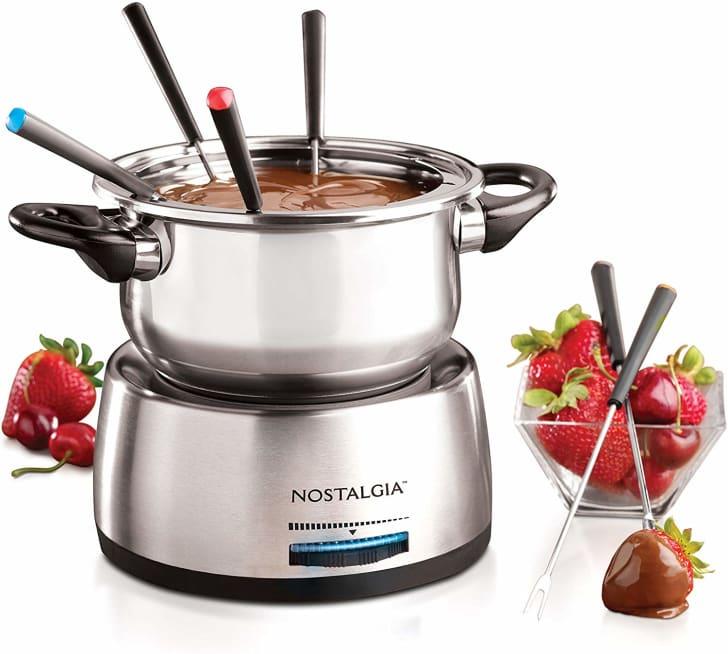 A chocolate fondue pot