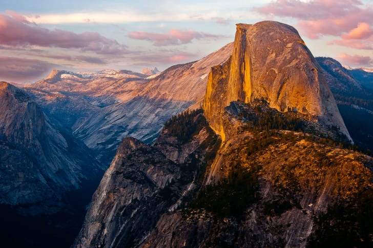 Sunset on Half-Dome in Yosemite National Park