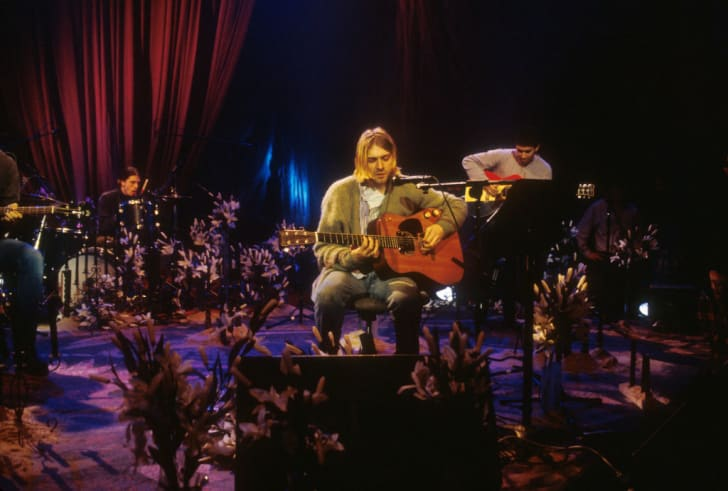 Kurt Cobain and Nirvana during the taping of MTV Unplugged at Sony Studios in New York City, 11/18/93