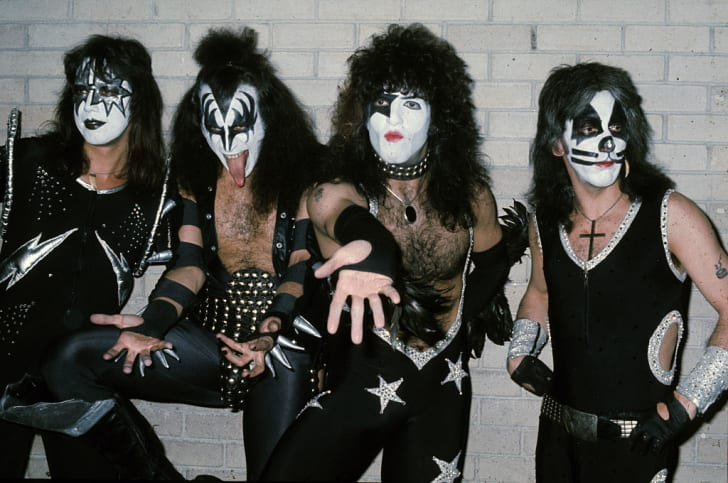 Gene Simmons, Ace Frehley, Peter Criss, and Paul Stanley of Kiss in London in 1976.
