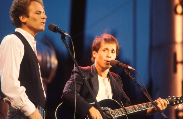 Art Garfunkel and Paul Simon perform on stage in New York City's Central Park in 1981.