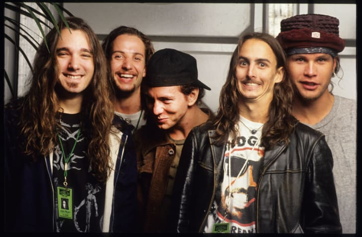 Pearl Jam members Eddie Vedder, Mike McCready, Jeff Ament, Stone Gossard, and Dave Abbruzzese at the 1992 Pinkpop Festival in Landgraaf, Holland.