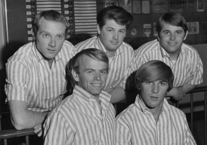 The Beach Boys—Mike Love, Al Jardine, Brian Wilson, Dennis Wilson, and Carl Wilson—in 1964.