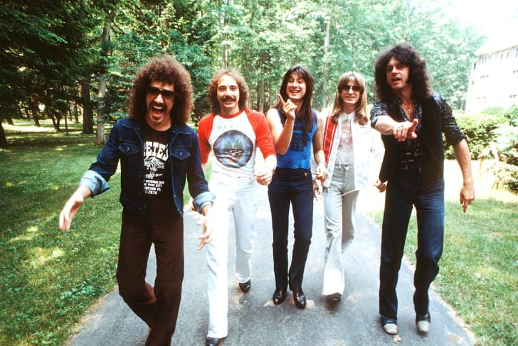 Portrait of Neal Schon, Steve Smith, Steve Perry, Ross Valory, and Gregg Rolie of the band Journey in 1979.