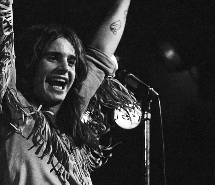 Singer Ozzy Osbourne performing with Black Sabbath at London's Royal Albert Hall in 1972.