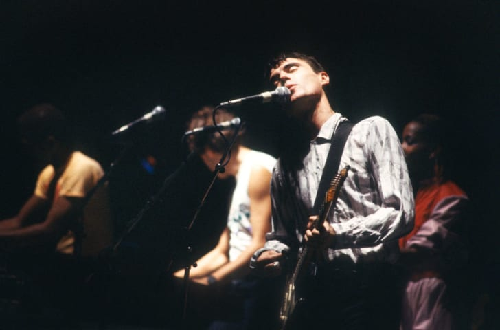 David Byrne and Talking Heads perform in Brussels, Belgium in 1980.