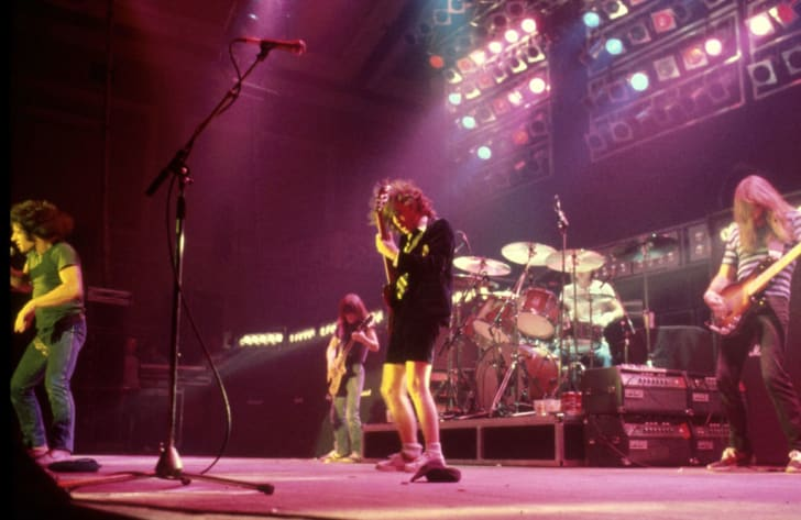 AC/DC's Brian Johnson, Malcolm Young, Angus Young, Phil Rudd, and Cliff Williams perform in London in 1980.