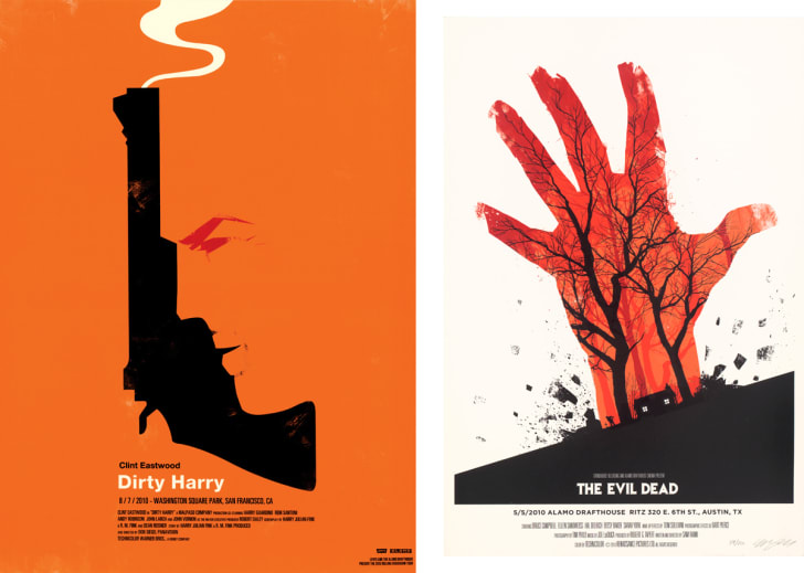 Mondo art for Dirty Harry and The Evil Dead.