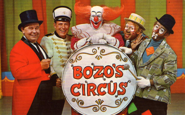 Postcard photo of the main cast of Chicago's Bozo's Circus