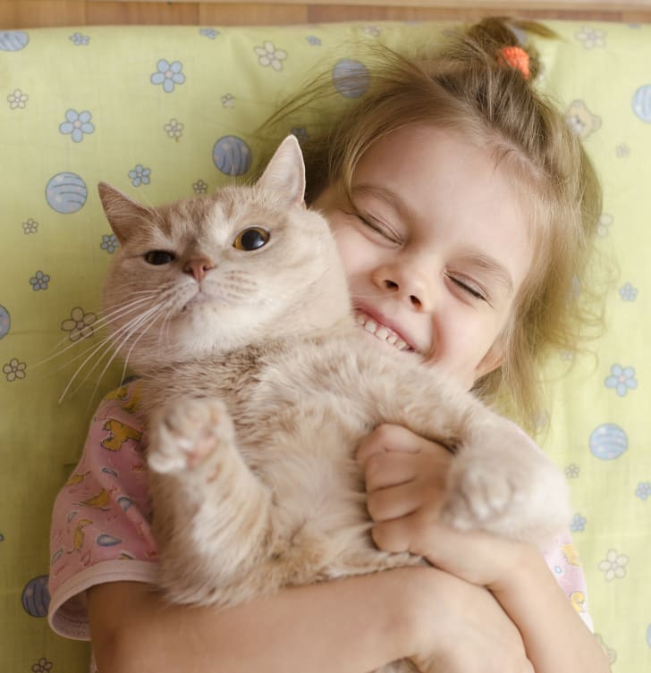 Young girl squeezes her adorable pet cat