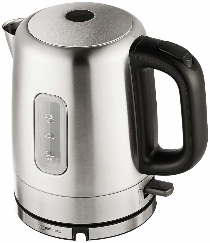 silver-colored electric kettle