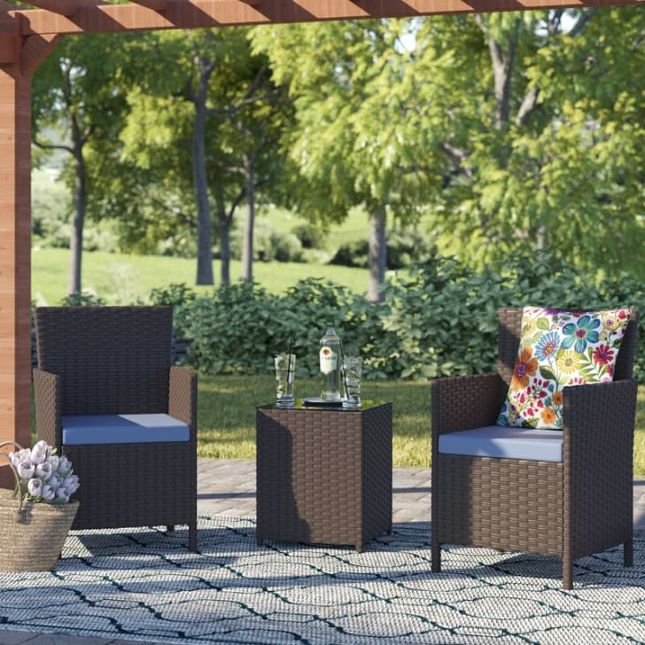 An outdoor patio set