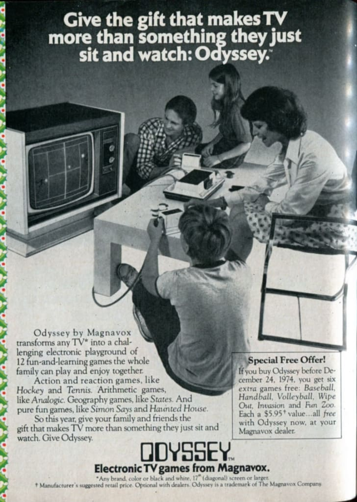 A 1974 ad for the Magnavox Odyssey is pictured