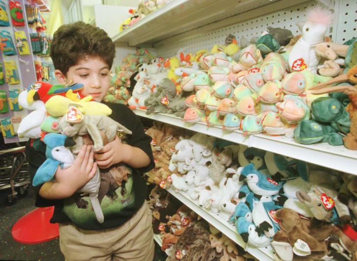 5-Year-Old Adam Kalina's arms are full of Beanie Babies on a 1999 shopping trip with his mother.