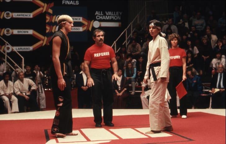 Ralph Macchio, Pat Morita, Randee Heller, Pat E. Johnson, and William Zabka in The Karate Kid (1984)