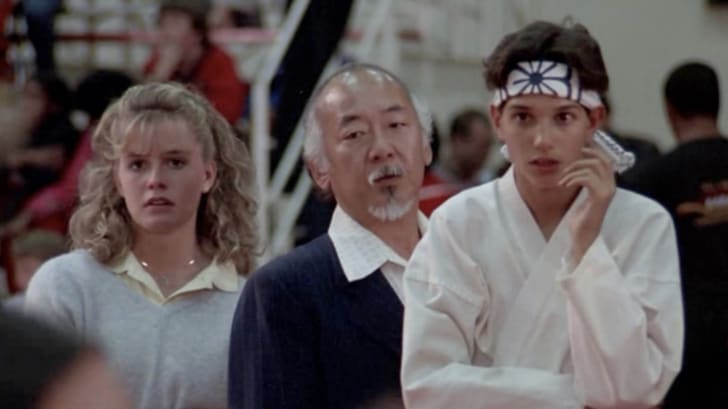 Elisabeth Shue, Ralph Macchio, and Pat Morita in The Karate Kid (1984)