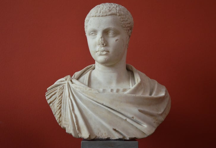 Bust of a Roman emperor against a red background