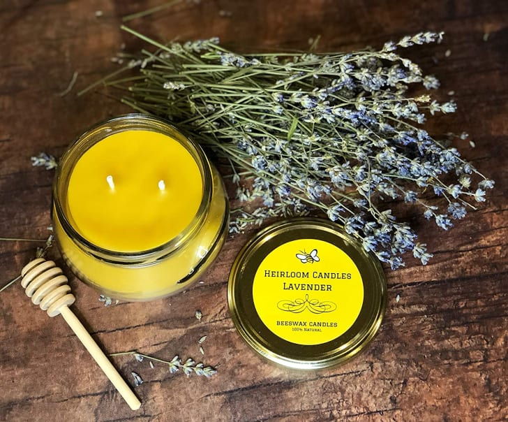 A lavender and beeswax candle
