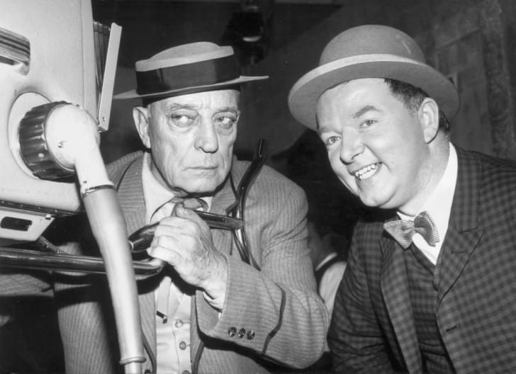 American actor and comedian Buster Keaton visits the Frankfurt television studios of the local radio station which is broadcasting his old films in 1962.