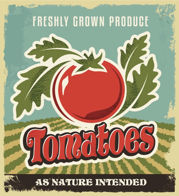 A vintage advertisement promoting tomatoes