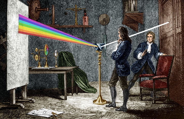 Isaac Newton dispersing light with a glass prism.