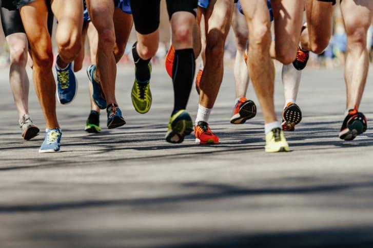 People running in a marathon.