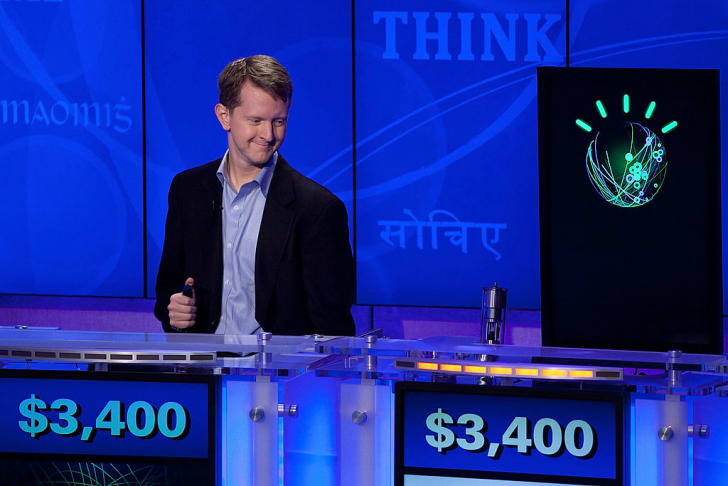 "Contestant Ken Jennings competes against 'Watson' at a press conference to discuss the upcoming Man V. Machine ""Jeopardy!"" competition at the IBM T.J. Watson Research Center on January 13, 2011 in Yorktown Heights, New York"