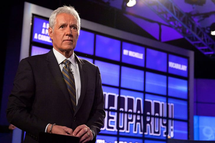 """Host of """"Jeopardy!"""" Alex Trebek attends a press conference to discuss the upcoming Man V. Machine """"Jeopardy!"""" competition at the IBM T.J. Watson Research Center on January 13, 2011 in Yorktown Heights, New York"""