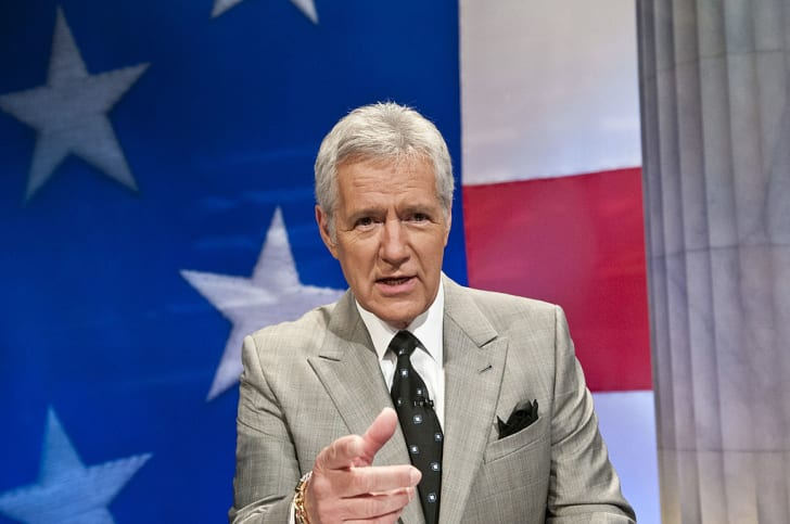 Alex Trebek speaks during a rehearsal before a taping of Jeopardy! Power Players Week at DAR Constitution Hall on April 21, 2012 in Washington, DC