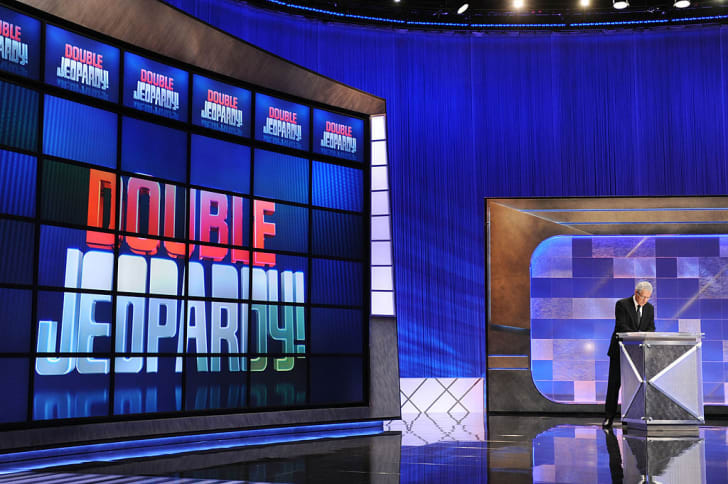 Game show host Alex Trebek rehearses his lines on the set of the