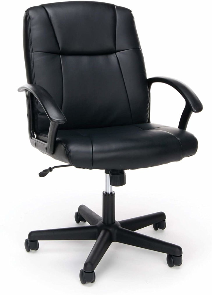 An office chair with a integrated headrest.
