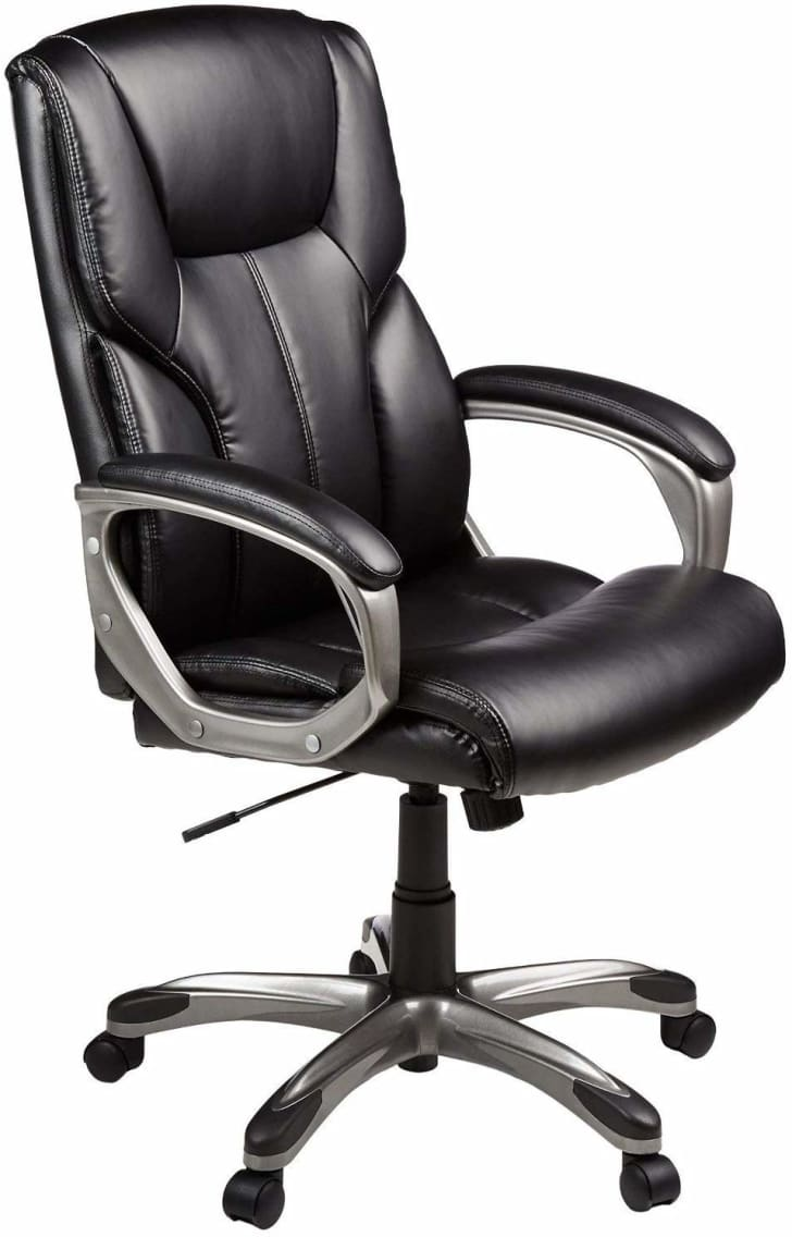 A leather office chair.
