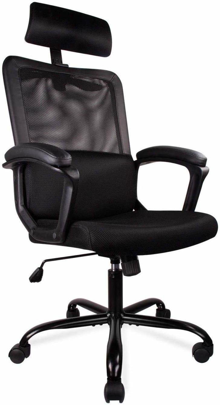 An office chair with a designated headrest.