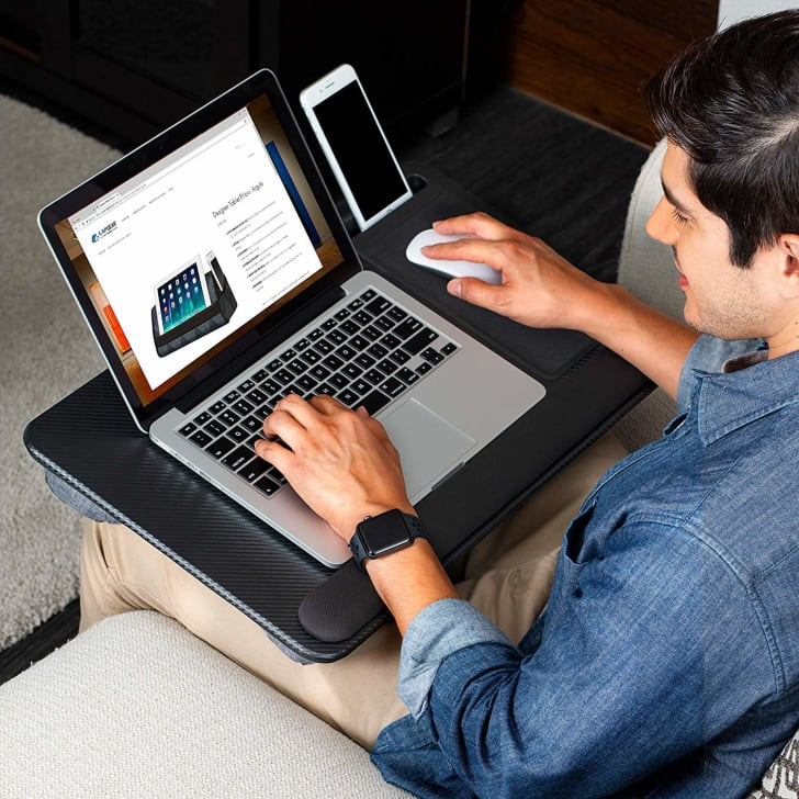 A  portable laptop holder, so you can work anywhere.