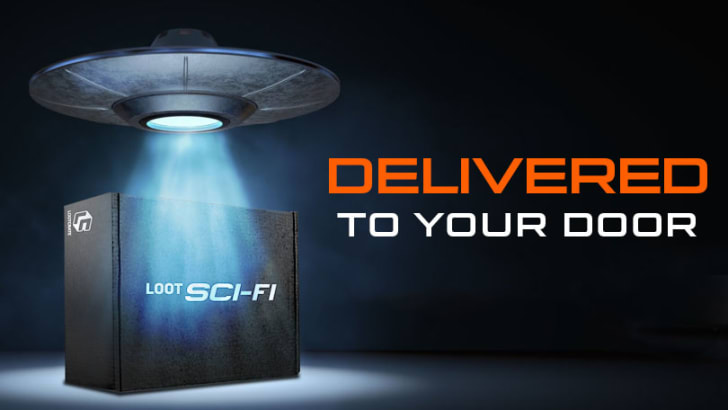 A subscription box with sci-fi merchandise inside.