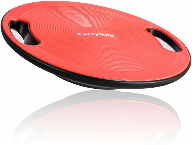 A balance board for exercise.