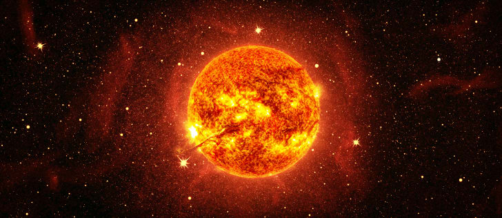 An image of the sun in space.