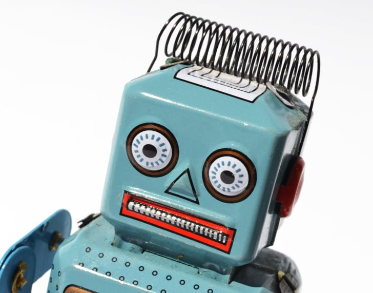 A robot toy looking nervous