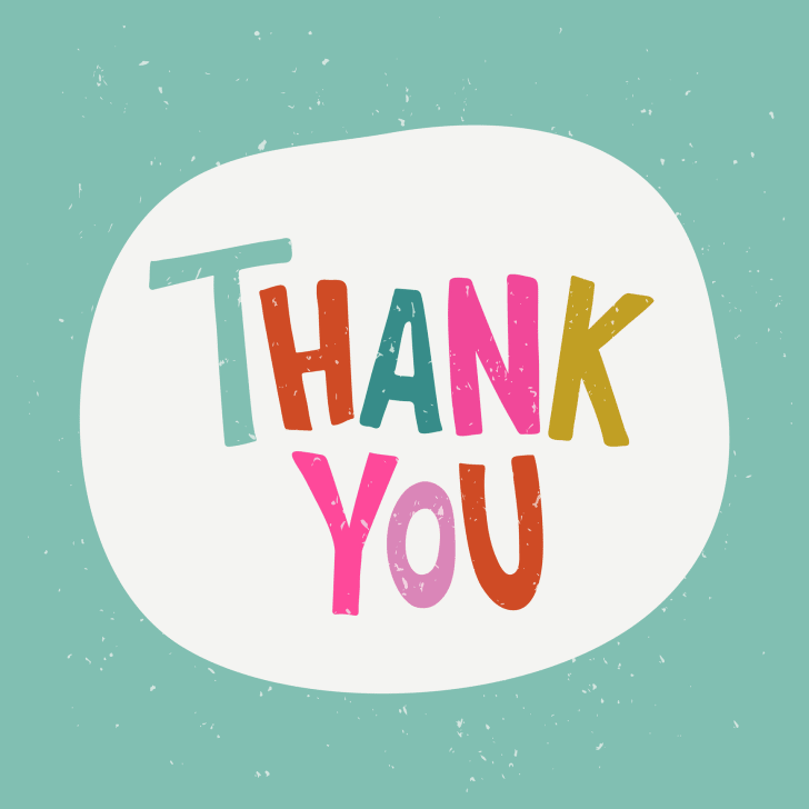 The words thank you illustrated in a white speech bubble on a green background