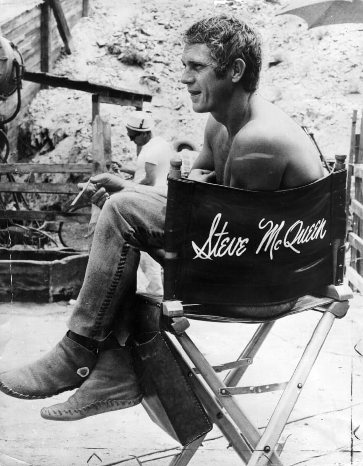 Steve McQueen on the set of 'Nevada Smith' (1966).