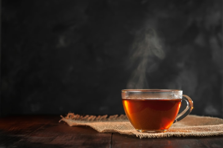 Steaming tea in a clear cup