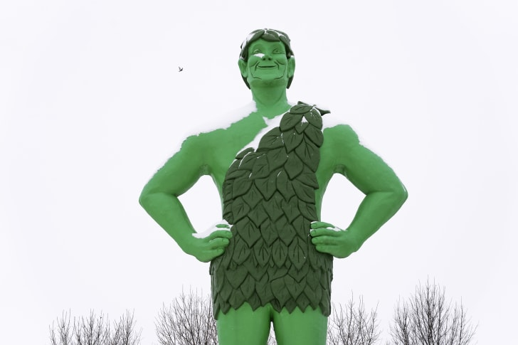 The Jolly Green Giant statue in Blue Earth, Minnesota is pictured