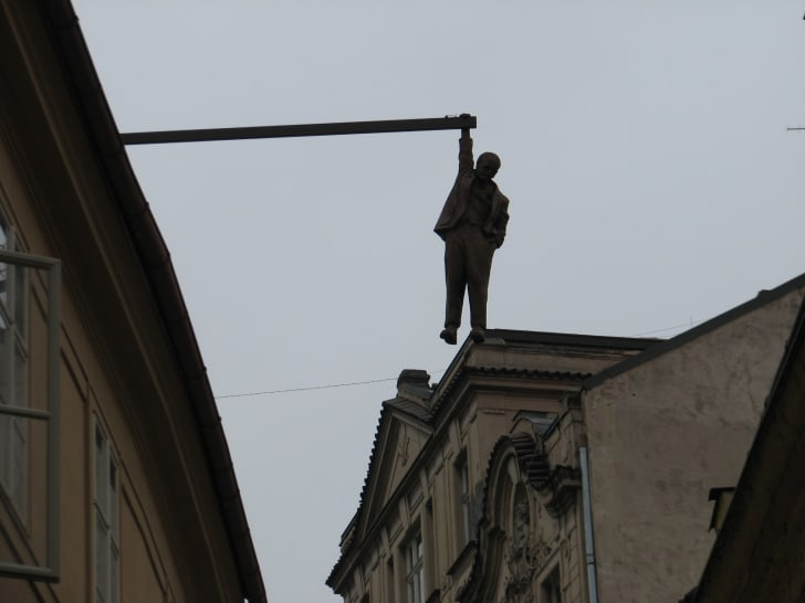 The 'Man Hanging Out' statue in Prague is pictured