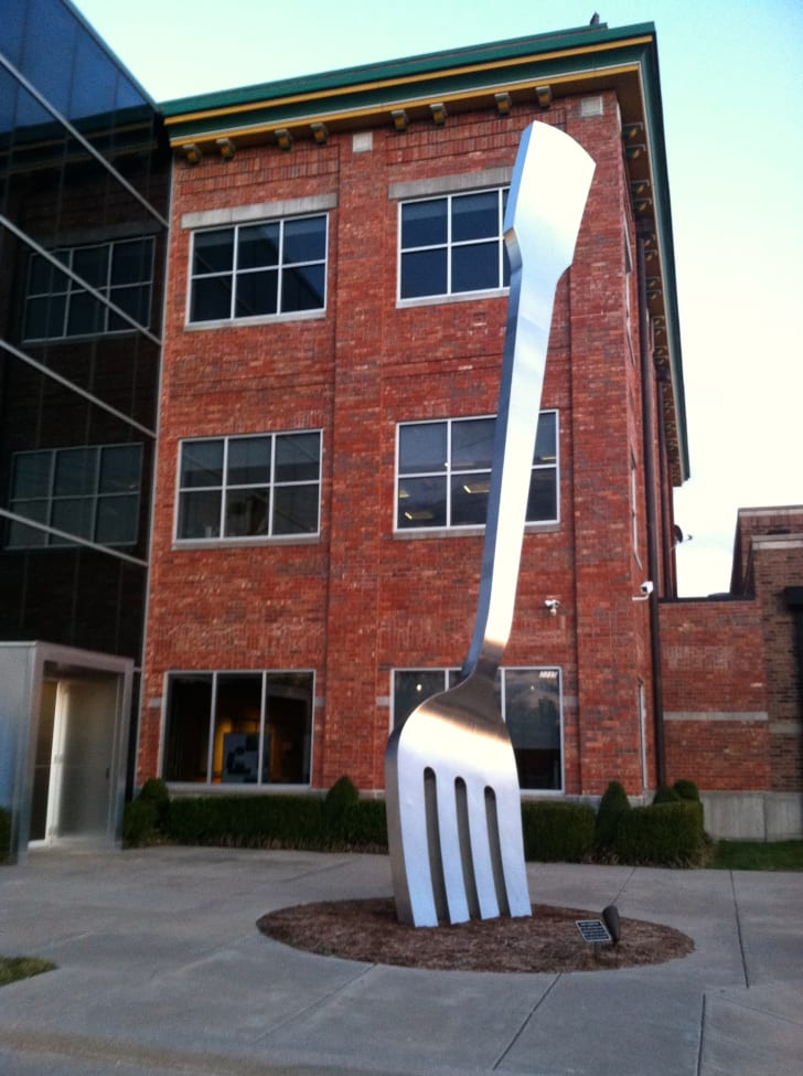 The giant fork sculpture in Springfield, Missouri is pictured