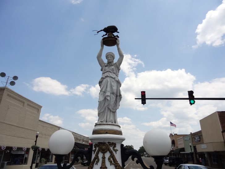 The Boll Weevil Monument in Enterprise, Alabama is pictured