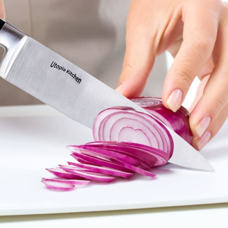 A chef's knife from Utopia Kitchen.