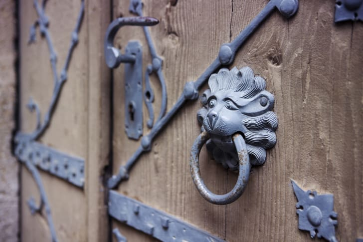 Wrought iron detail on wooden door