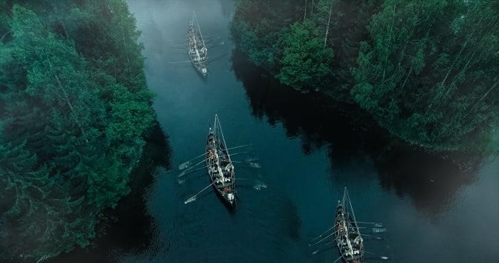 Vikings rowing in boats