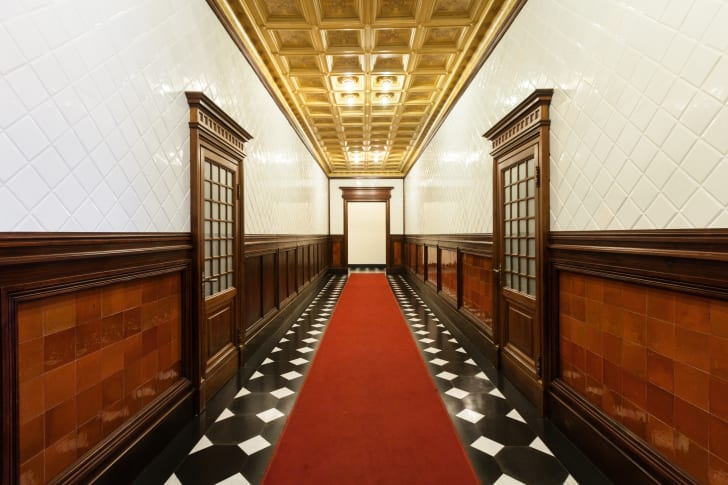 Long old-fashioned hallway