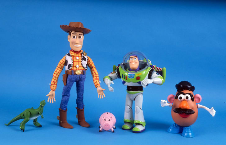 A lineup of Toy Story action figures.